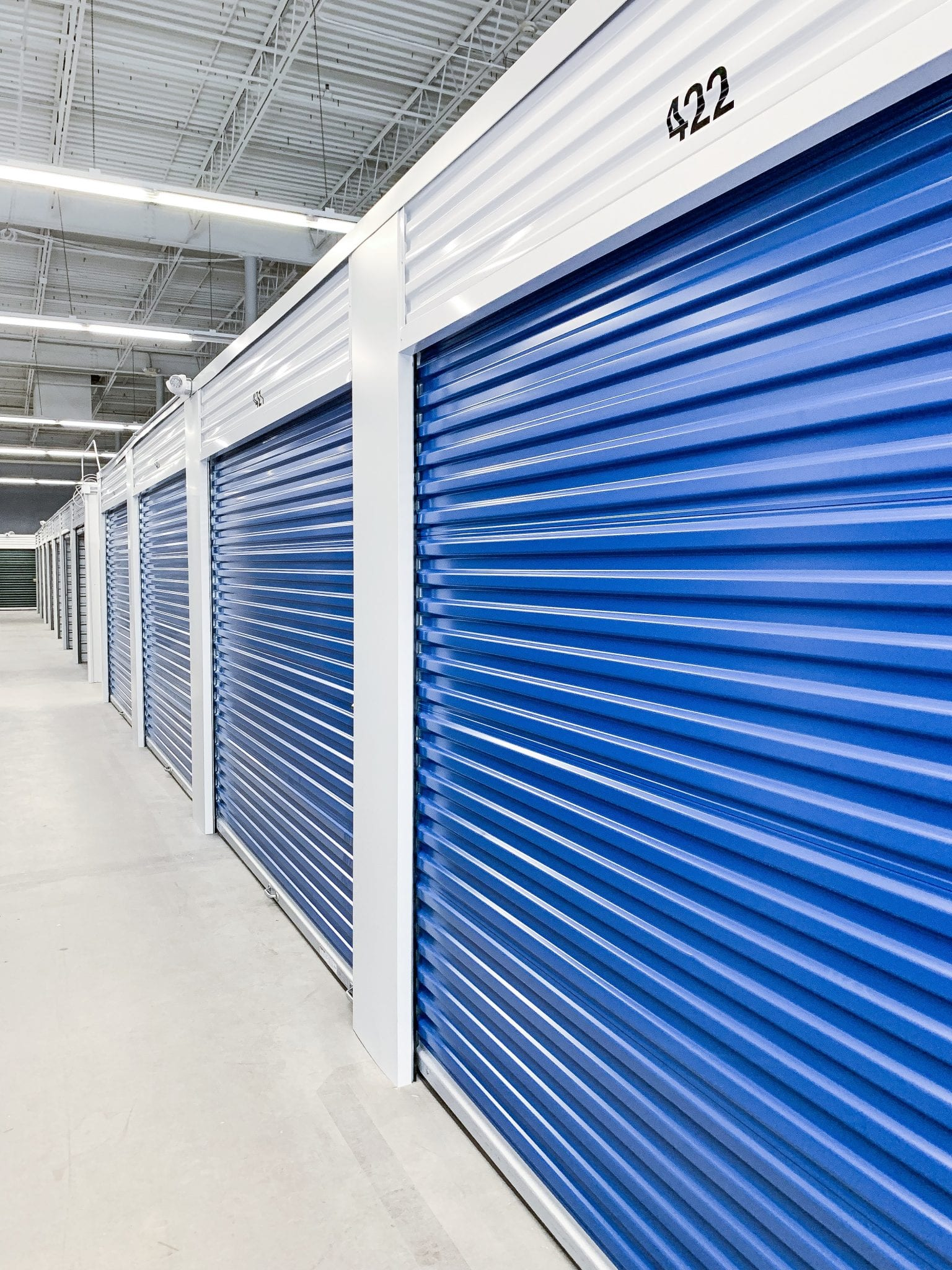Blue Indoor Storage Units at Ashland Storage Center